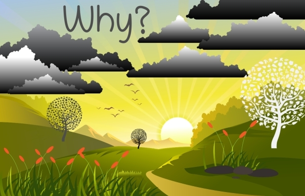 A stylised country sunset scene with 'why' in letters floating in the air