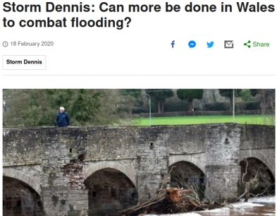 Screenshot of a BBC news story about flooding